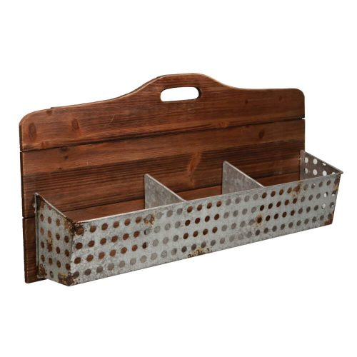 Wooden storage unit with 3 metal storage compartments