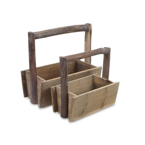 two wooden trugs of differing sizes