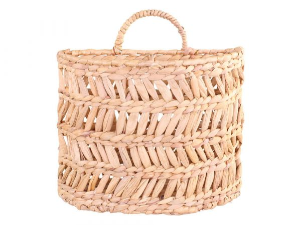 Semi circle stiff basket that sits flush against a wall with a handle to hang it with