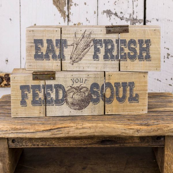 """two rustic wooden blocks with vegetables printed on with wording """"eat fresh"""" and """"feed your soul"""" on the other. Both have a rustic hinge on it for decorative purposes"""