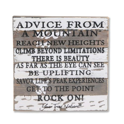 Distressed wooden picture with wording printed on it