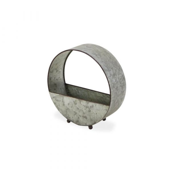 Circular band which is hollow. The bottow has 2 metal semi circles attached to front and back circumference to create a planter