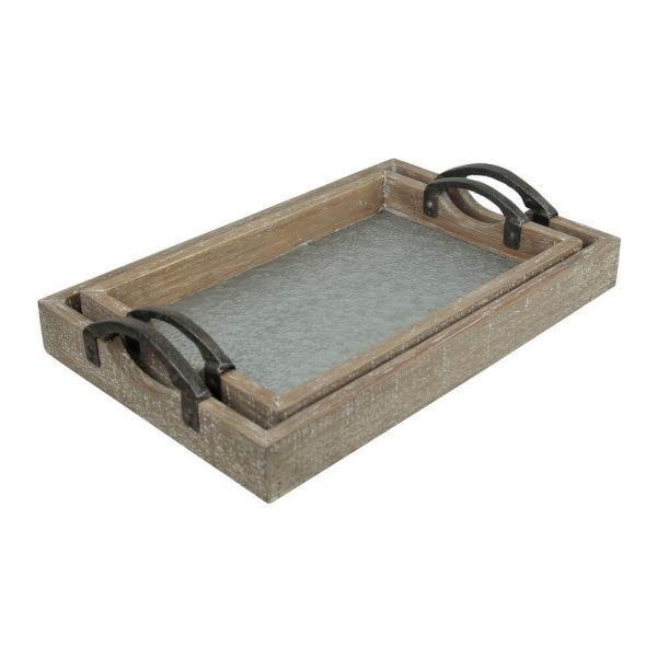 Set of 2 rectangle trays. Wooden structure with a galvanised base that has a bumpy look and texture to it