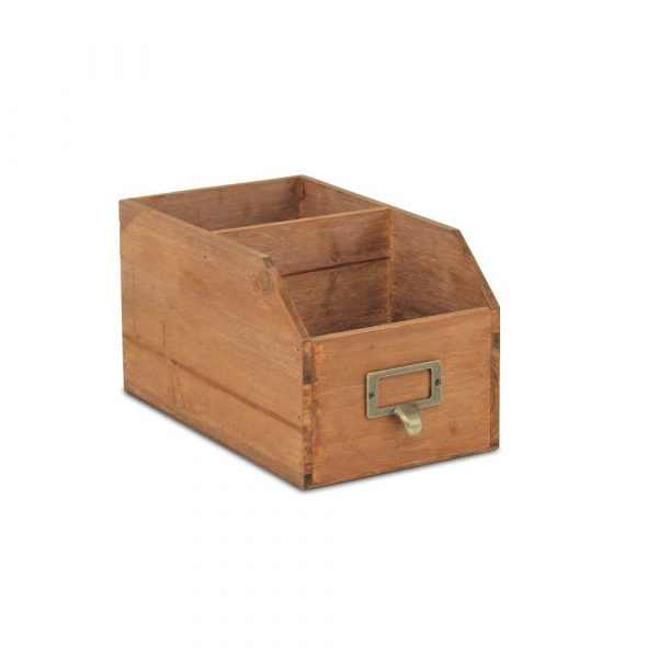Wooden storage unit. Top line drops down to make the front comparment lower