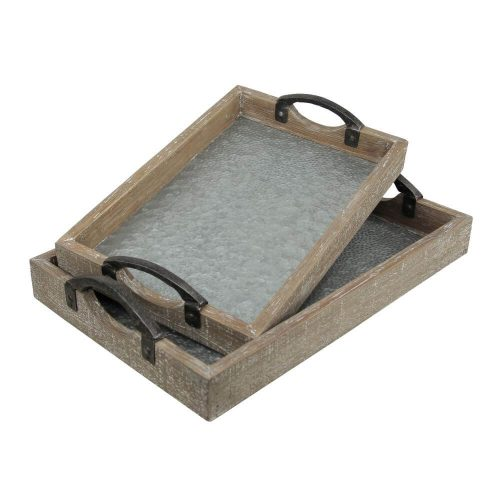 Wooden framed trays with galvanised bases and handles to the side for carrying