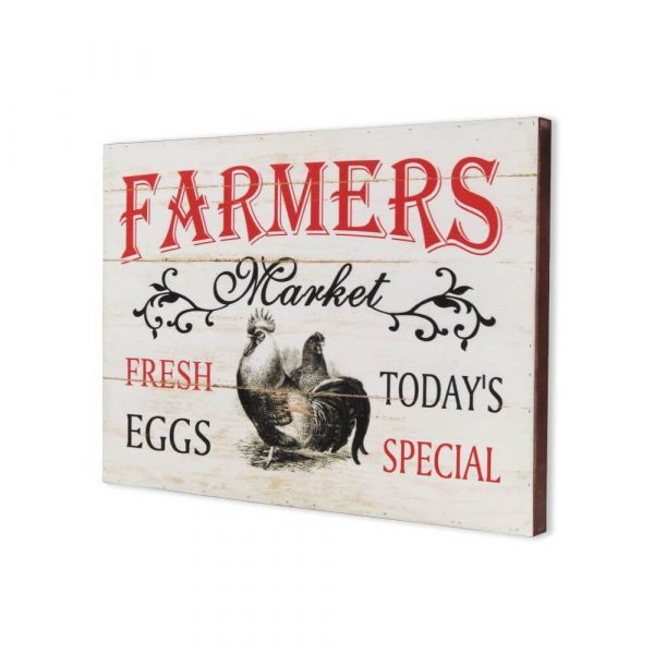 Farmers market sign with chickens on