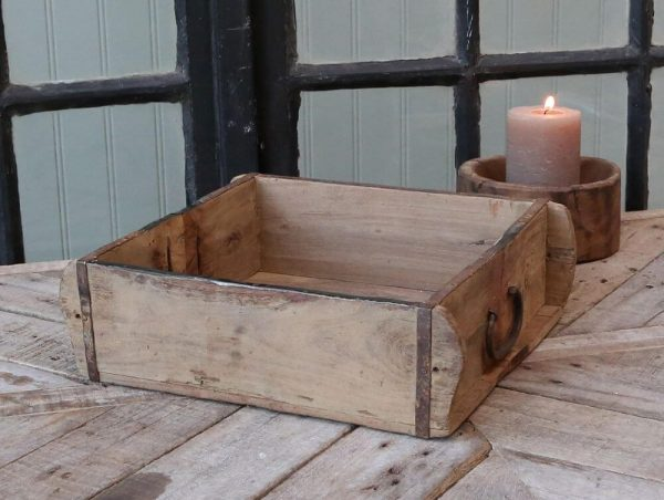 rustice wooden box with a metal handle