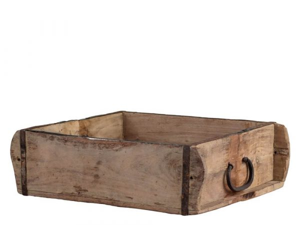 Wooden square tray with metal handle