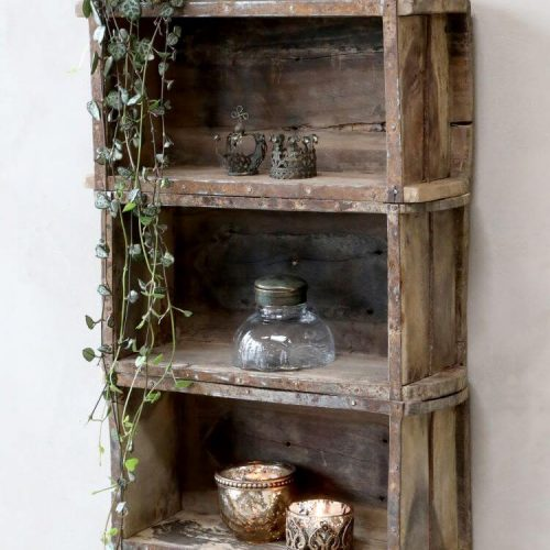 Shelving unit displayed with items in it