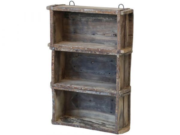 Rustic wooden shelving unit with three shelves