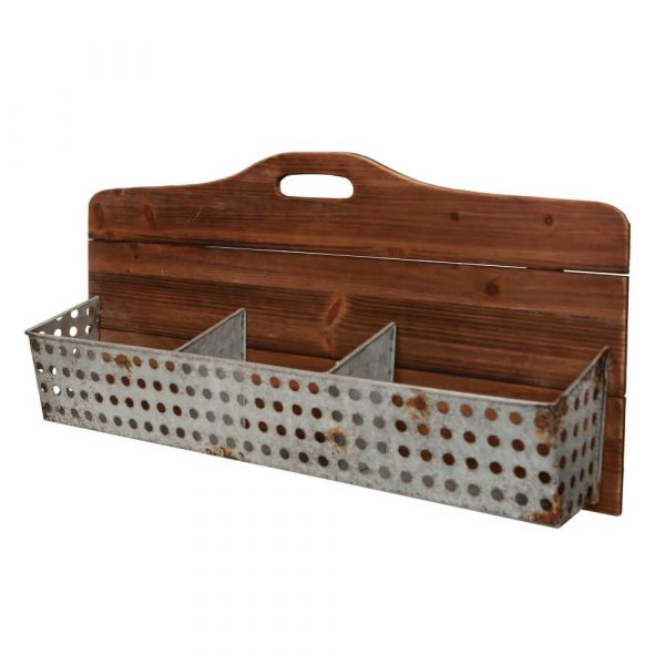 wooden backed storage incorporating a handle with 3 wire compartments along the front