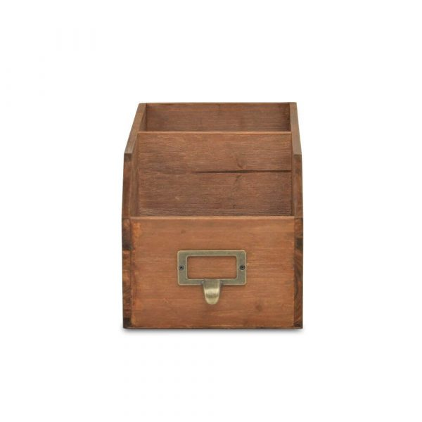 Wooden storage box. Two compartments back to front
