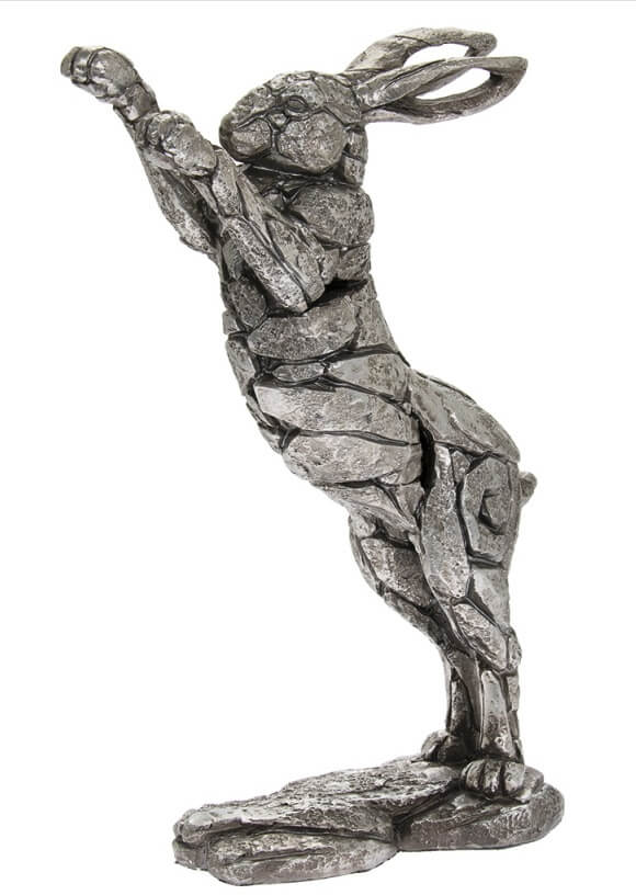 Rough textured Silver upright hare ornament