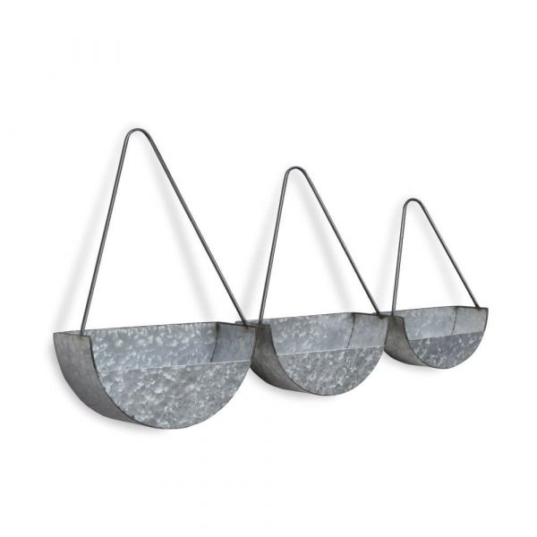 3 galvanised planters. Semi circle shaped with large triangle shaped handles