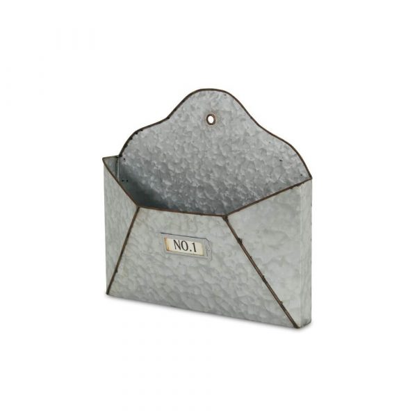 Metal envelope which is open to hang on the wall and keep items in