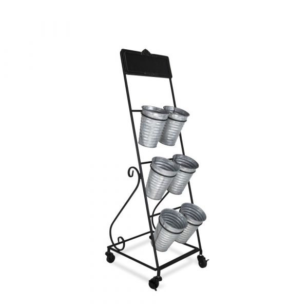 6 metal vases (2 side by side, 3 rows) Sat within a metal frame on wheels with a blackboard along the top.