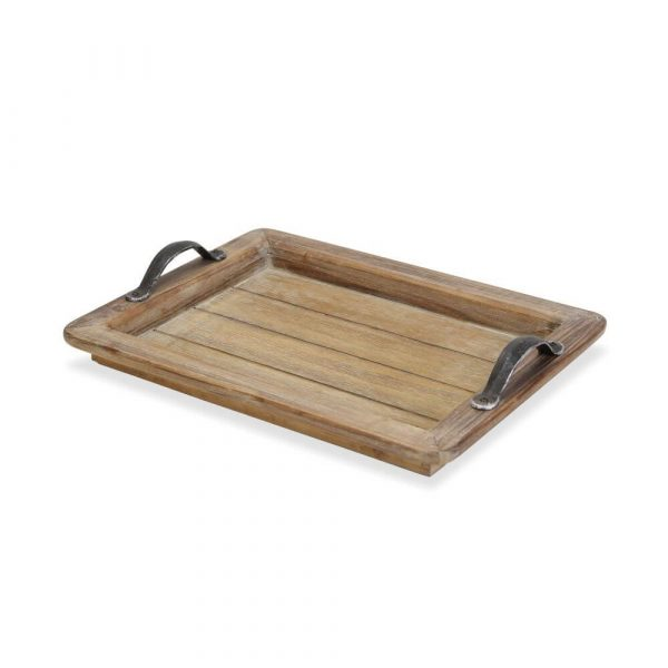 wooden slatted base with a wooden rim and tow metal handles either side