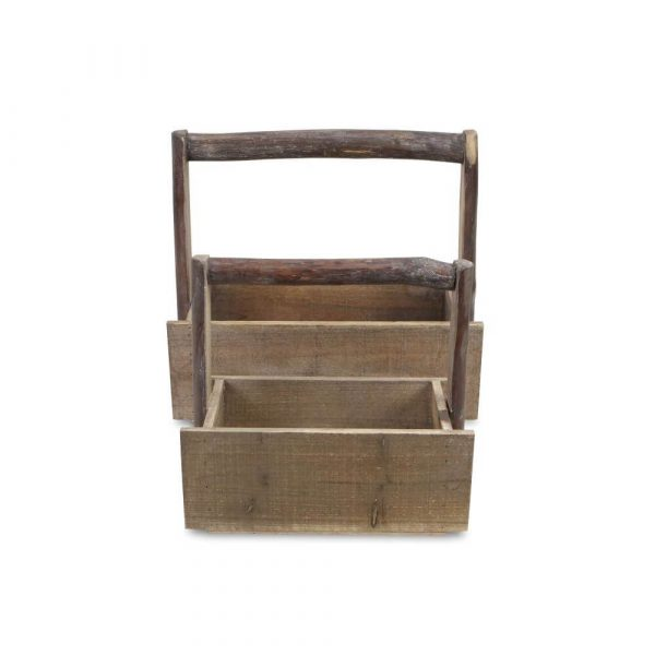 set of 2 rectangle wooden trugs