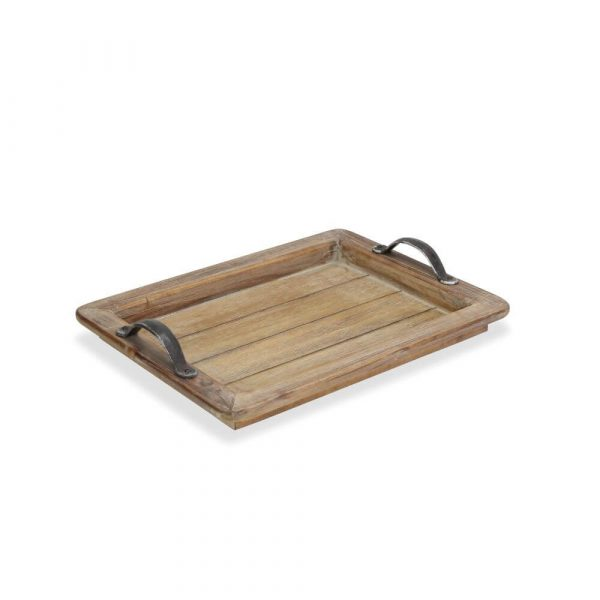 wooden slatted base to the tray with a wooden rim and metal handles