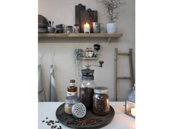 Tray with coffee grinder and coffee beans