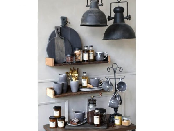 Shelf display with kitchen utensils on incorporating the coffee grinder