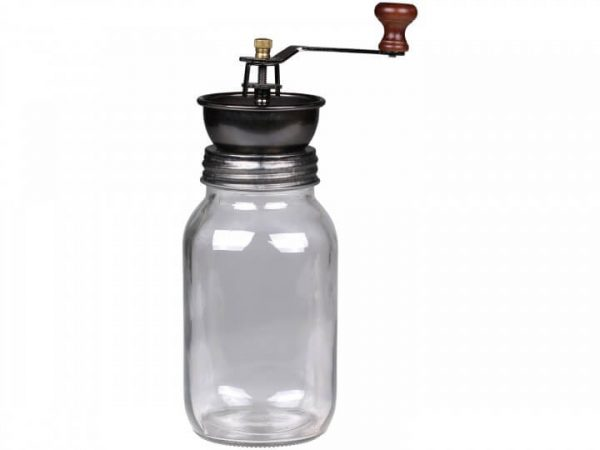 Glass jar with a coffee grinding mechanism on the top
