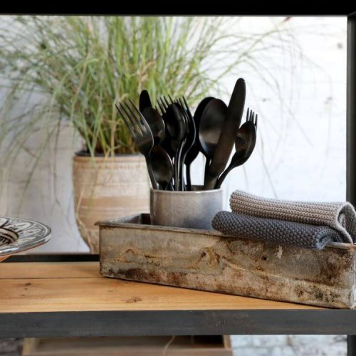 Rustic bread tin displayed with kitchen accessories