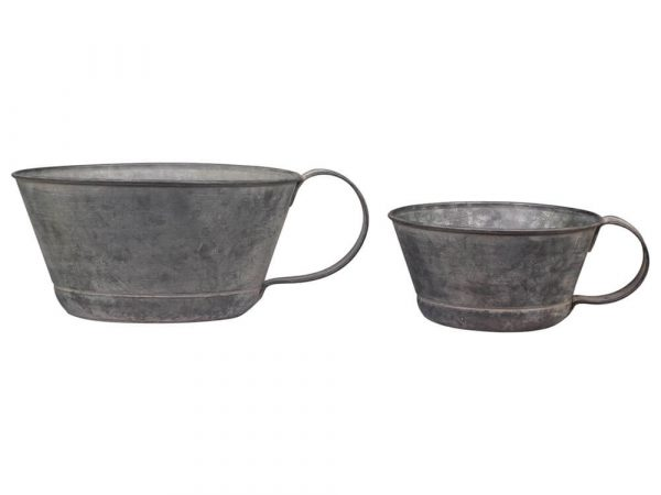 Two metal saucer style planters with large handles on one end