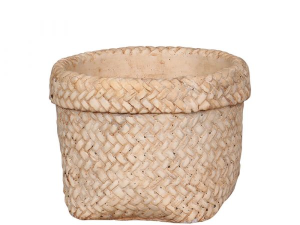 A basket weave plant pot with a folded over effect rim