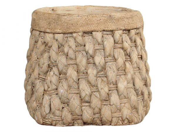 A basket weave effect plant pot with a braided effect rim