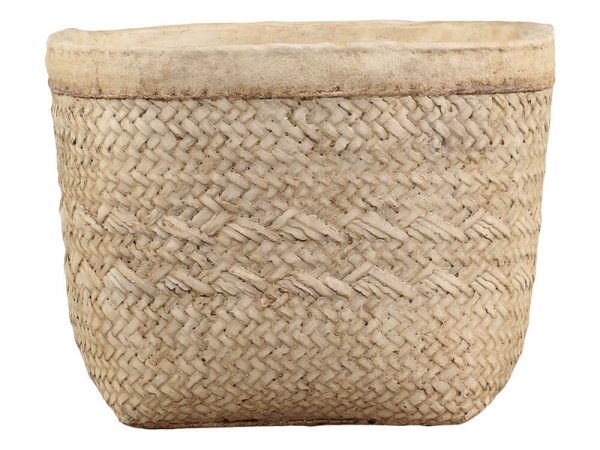 A square plant pot with rounded edges. It has a plain rim with the main part of the plant pot being a basket weaved patterned look