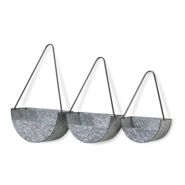 3 matching glvanised planter. All semi circled shaped with a flat back. Back is higher than the front