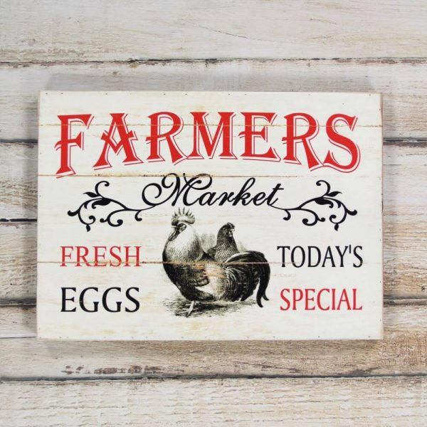 Farmers market wooden sign displayed on a wood backdrop