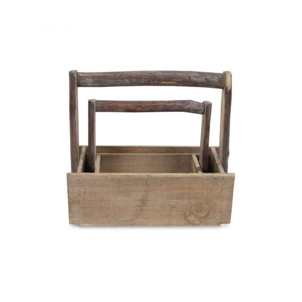 two matching wooden trugs of differing sizes with one pictured sat within the other