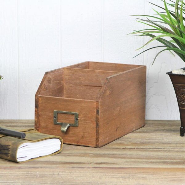 Wooden storage box with open top displayed on a desk