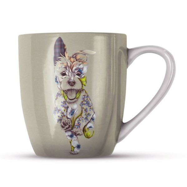 A mug with a picture of happy running dog on it. The dog is a patchwork design made up of flowers.