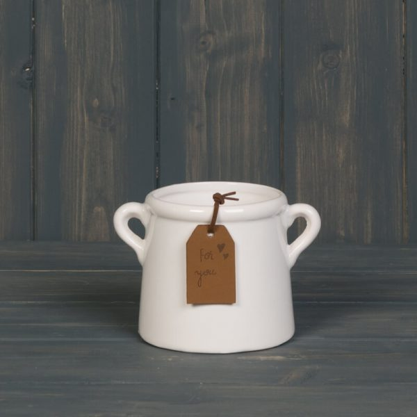 Small white smooth plant pot with handles either side