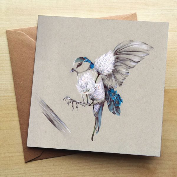 A card with a patchwork bird on it. The patchwork incorporates the use of flowers and is a grey and blue colour