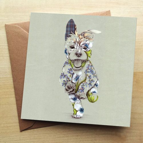 A card with a picture of happy running dog on it. The dog is a patchwork design made up of flowers.