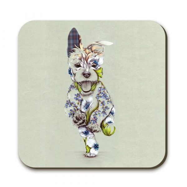 A coaster with a picture of happy running dog on it. The dog is a patchwork design made up of flowers.
