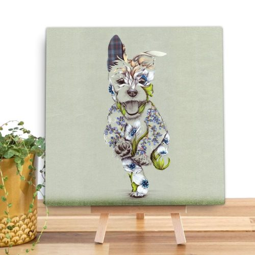 A mini canvas with a picture of happy running dog on it. The dog is a patchwork design made up of flowers.