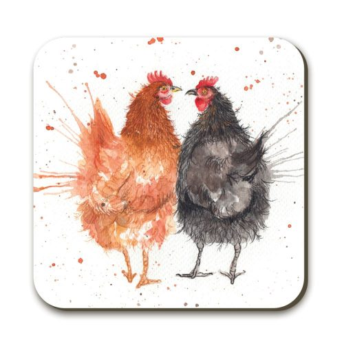 A coaster with a ginger and black chicken on with a splattered paint effect around them