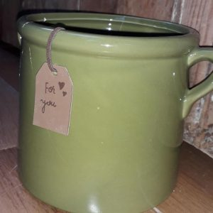 An olive smooth pot with 2 small handles on either side