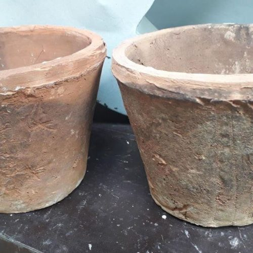 Terracotta pots. Each is individual with its on quirky effects with a rough rustic texture