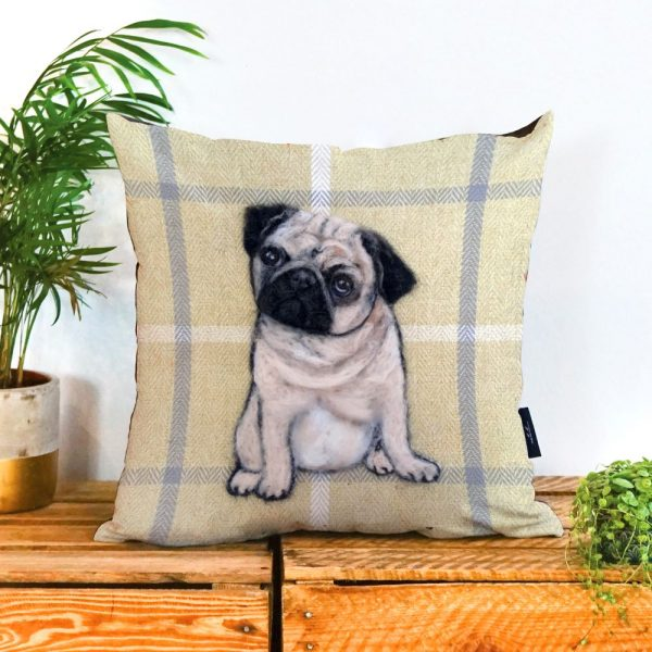 A tartan background with a pug in the middle