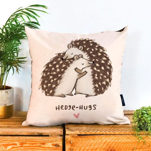 A plain background with two hedgehogs cuddling each other
