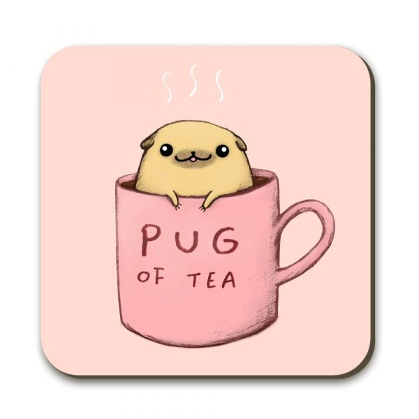 """A pink coaster with a pink mug on it. On the mug is written """"pug of tea"""" with a cartoon type pug popping its head out of the top of the mug"""