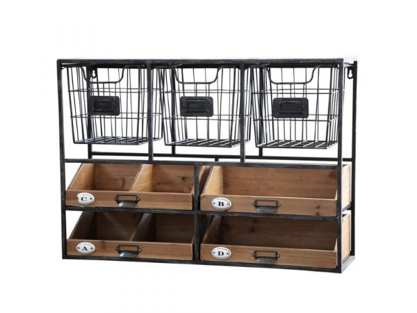 Kitchen storage shelf with 3 wire baskets along the top and wooden trays underneath