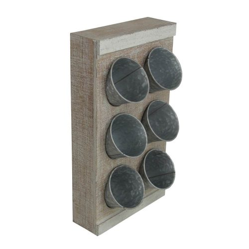Wooden vertical wooden block with 6 galvanised plant pots sat within