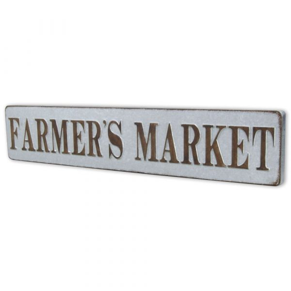 """Metal sign with """"Farmer's Market"""" pressed out from the metal siign and enhanced in a darker colour"""